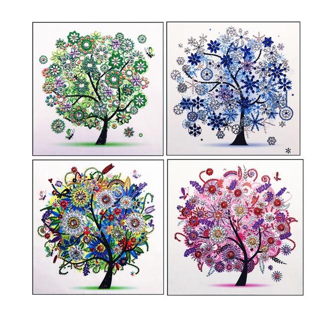 5D DIY kim cương thêu trang trí hoa bốn mùa cây hình dáng đặc biệt Tranh Gắn Đá Pha Lê Kim cương mới Giá kệ nhà de