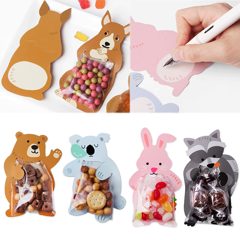 Animal 10pcs/lot Baby Shower Birthday Party Cute Gift Bags Candy Bags Cookie Bags Bear Candy Box Greeting Cards Popular Rabbit(China)