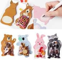 Animal 10 pcs/lot bébé douche fête d'anniversaire mignon cadeau sacs bonbons sacs Cookie sacs ours bonbons boîte cartes de voeux populaire lapin