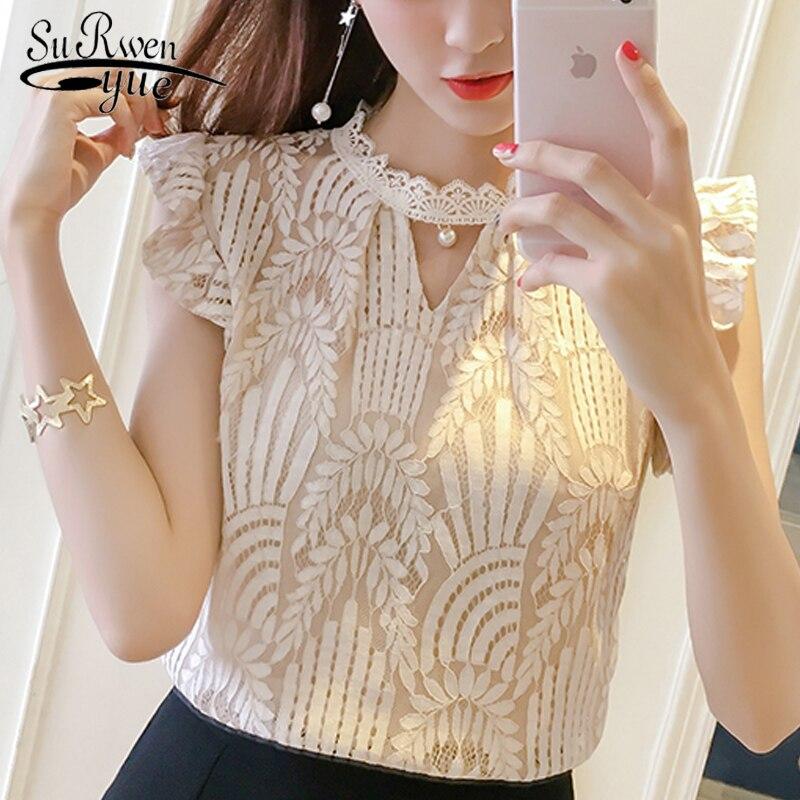 Fashion women blouses 2019 short sleeve summer women tops hollow lace women blouse shirt blusas femininas women shirt 0399 30