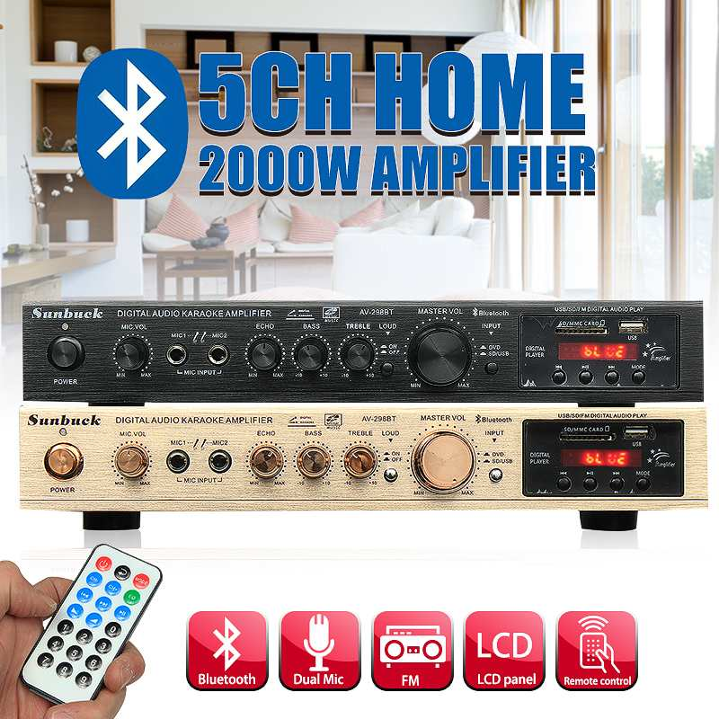 bluetooth 298BT Power <font><b>Amplifier</b></font> LCD Display Audio <font><b>HiFi</b></font> <font><b>800W</b></font> 220V-240V 50Hz 5CH Home Theatre FM Radio Support SD/USB image