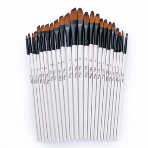 12pcs/set Artist Paint Brushes Set Acrylic Oil Watercolour Painting Craft Art Model Paint By Number Pen Brushes