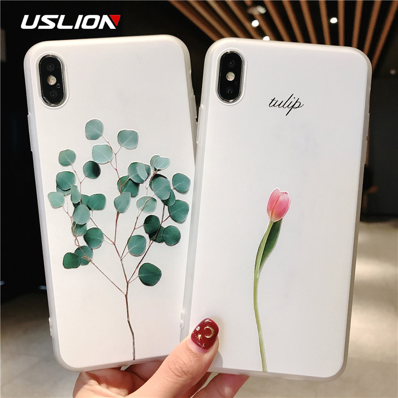 USLION Green Leaves <font><b>Case</b></font> For <font><b>iPhone</b></font> 11 Pro XR XS Max <font><b>X</b></font> <font><b>3D</b></font> Relief Flower Phone Cover For <font><b>iPhone</b></font> 6 6s 7 8 Plus Soft <font><b>Silicone</b></font> <font><b>Cases</b></font> image