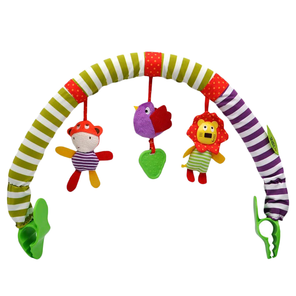 aby Toys Travel Play Arch Stroller Crib Pram Activity Bar with Rattle Squeak Teether Easier Outdoors Parenting Infant Gifts