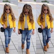 Джинсовая куртка принцессы для маленьких девочек 1-6 лет, пальто на пуговицах, верхняя одежда, топы, одежда