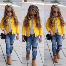 1-6Years Princess Kids Baby Girls Denim Jacket Button Coat O