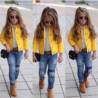 1-6years princesa crianças bebê meninas denim jaqueta botão casaco outerwear topos roupas