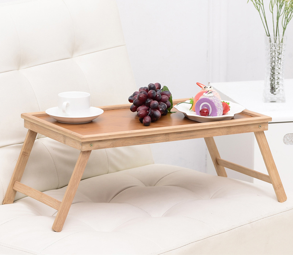Multifunction Portable Bamboo Bed Laptop Desk Foldable Serving Table For Tea Study Breakfast