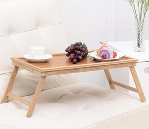 Image 1 - Multifunktions Tragbare Bambus Bett Laptop Schreibtisch Faltbare Portion Tisch wohnzimmer tisch für Tee Studie Frühstück