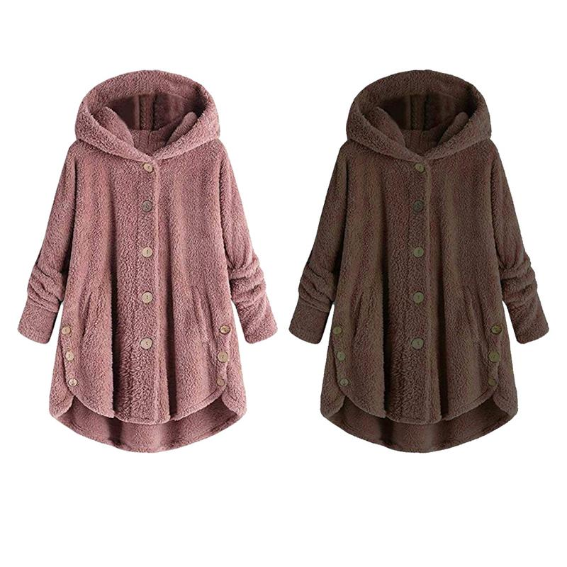 Double Side Plush Hooded Sweater Jacket For Women Loose Version Hooded Coats Plus Size 2XL 3XL
