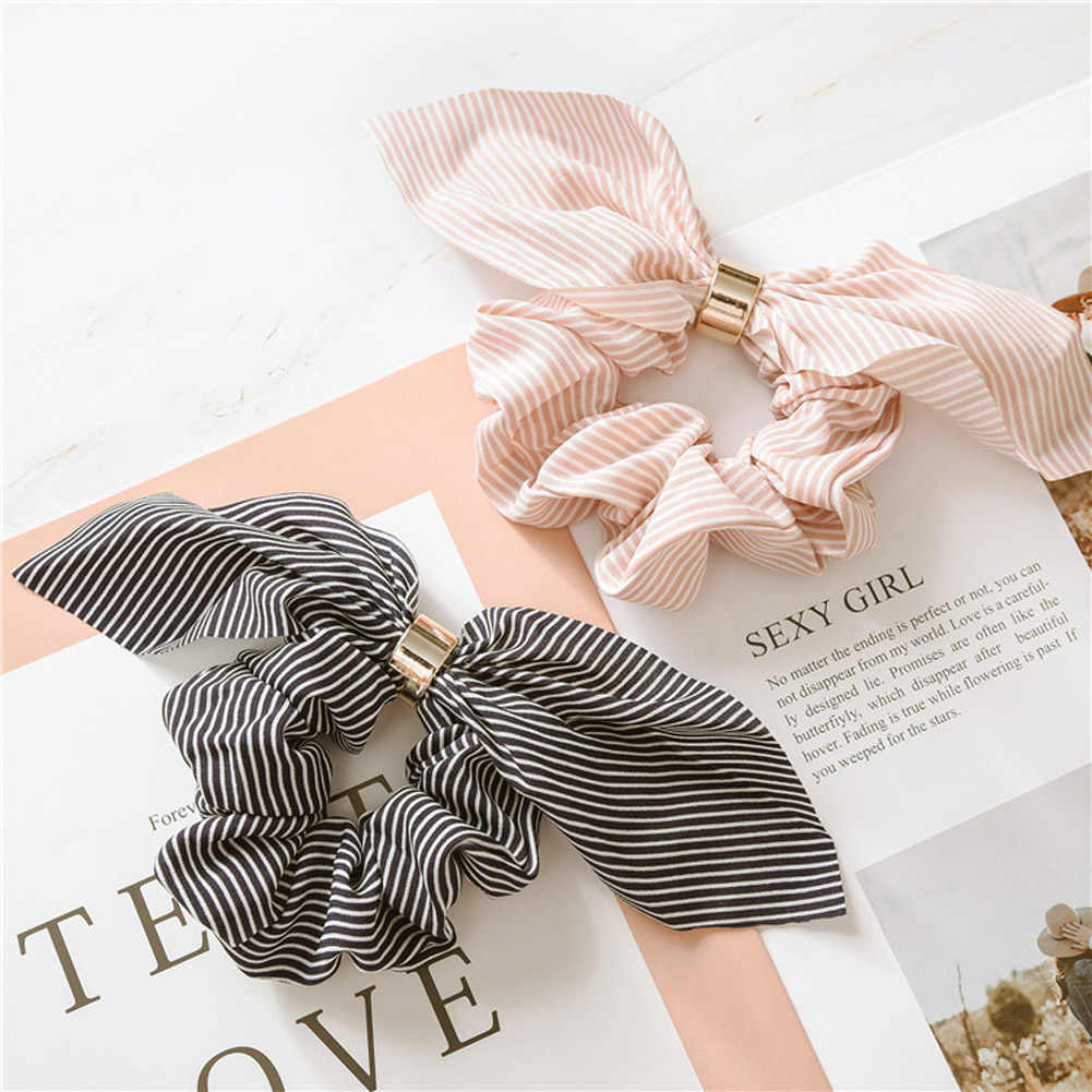 Korean Cute Rabbit Ear Striped Hair Accessories Plastic Buckle Hair Scrunchies Elastic Hair Bands Ties Rope Bands Ponytail Bands