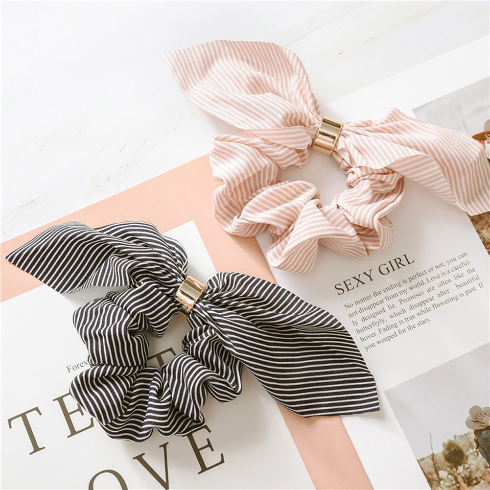 Korean Cute Rabbit Ear Striped Hair Accessories Metal Buckle Hair Scrunchies Elastic Hair Bands Ties Rope Bands Ponytail Bands