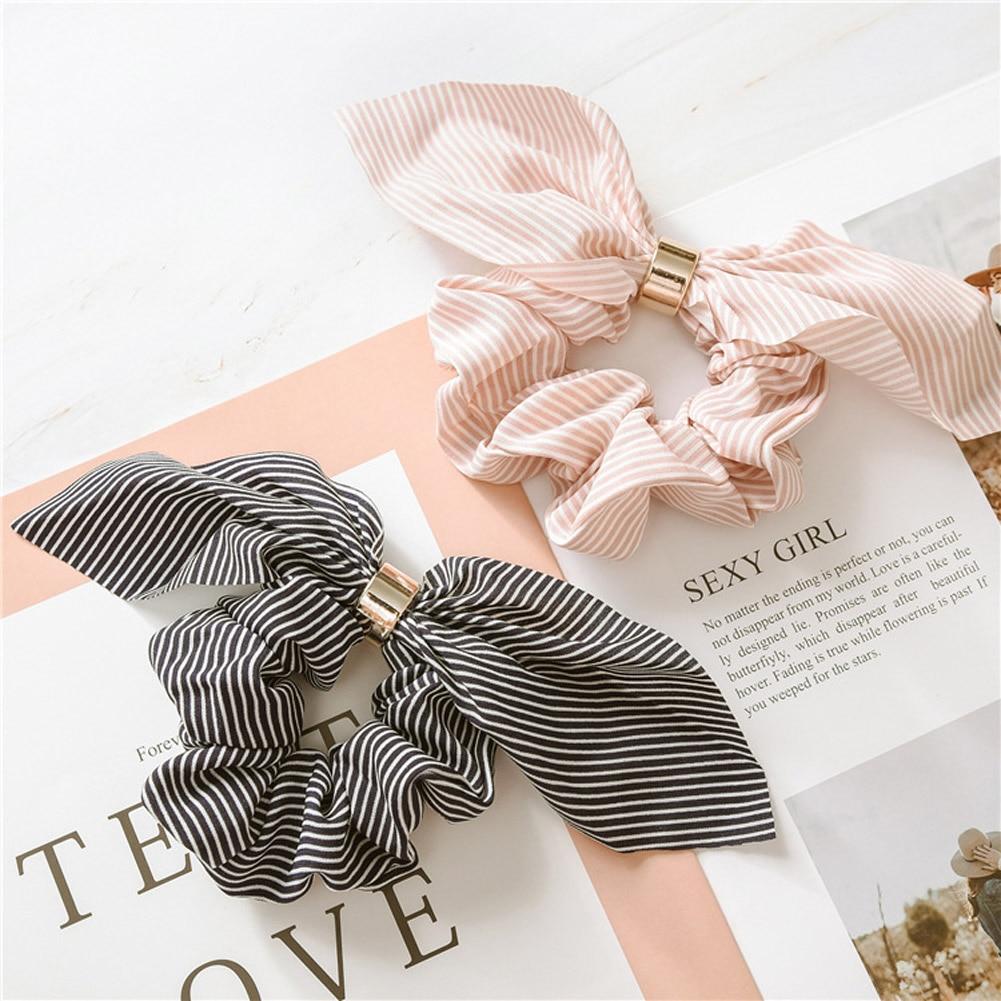 Korean Cute Rabbit Ear Striped Hair Accessories Metal Buckle Hair Scrunchies Elastic Hair Bands Ties Rope Bands Ponytail Bands