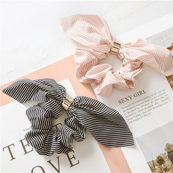 Korean Cute Rabbit Ear Striped Hair Accessories Plastic Buckle Hair Scrunchies Elastic Hair Bands Ties Rope Bands Ponytail Bands