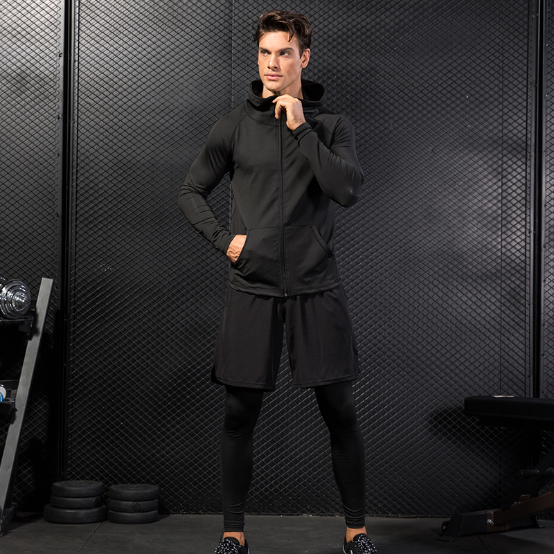 Yuerlian Новые 4 комплекта мужской осенний Спортивная одежда для бега быстросохнущая футболка + молния с капюшоном куртка + свободные шорты + узкие брюки - 2