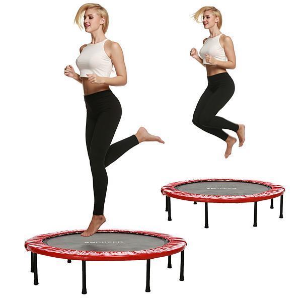 38 Cal Mini, składany, trampolina Fitness Workout trampoliny dla dzieci trampolina dla dzieci regulowane poręczy garnitur w wieku od 12 +