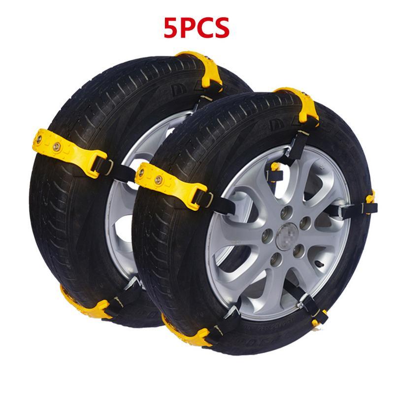 Voiture accessoires universels 5 pièces plastique résistant à l'usure épaissi pneus chaîne à neige pour voitures neige route et sable route anti-dérapant