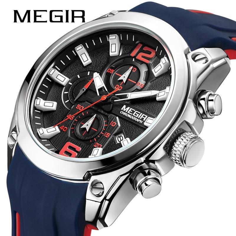 MEGIR Hommes Montre De Luxe Multi-Fonction de Chronométrage Casual Sport Quartz Calendrier Weeklight Montre