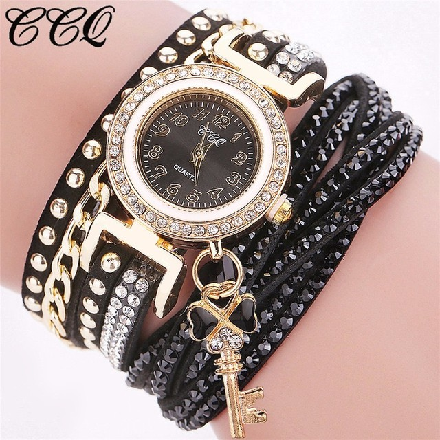 Hot Fashion Women Rhinestone Watch With Key Pendant Casual Luxury CCQ Brand Leat
