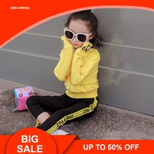 Baby Girls Clothing 2018 Spring/autumn New Style Little Girl Webbing Two-piece Casual Sweet Yellow Sports