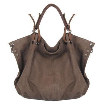 Fashion Women Wrinkled Canvas Bag Hobos Shape Large Tote Bag Solid Crossbody Shoulder Bags Large Capacity Female Handbag Tote