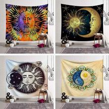 Black and White Sun Moon Tapestry Psychedelic Celestial Indian Sun Hippie Hippy Tapestries Wall Hanging Throw Bedspread Decor