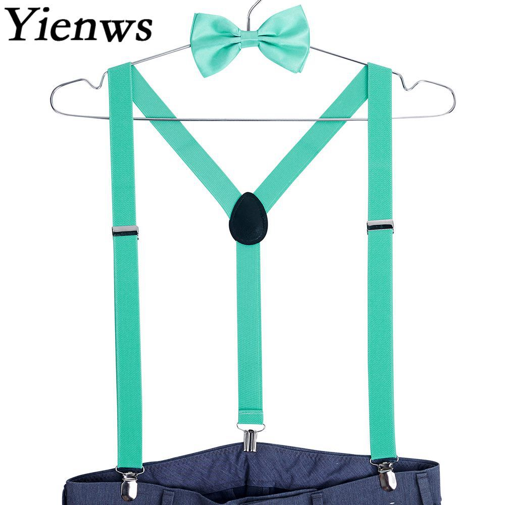 Yienws Womens Suspenders Bow Tie Y-back 3 Clip Female Suspenders For Pants Men Braces And Bow Tie Suspensorio Breteles YiA029