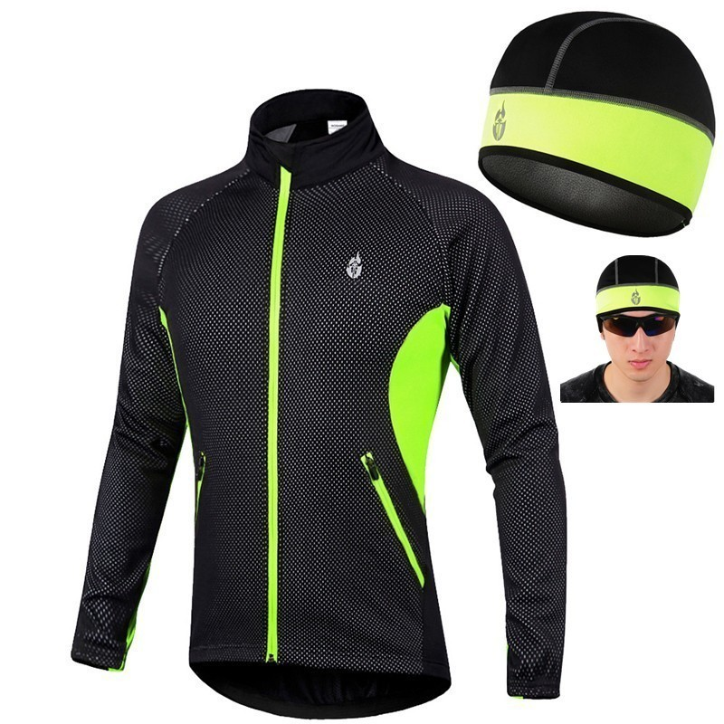 Winte cyclisme polaire manches longues Jersey froid vêtements gratuit chaud casquette coupe-vent veste vtt manteau route vitesse vélo femmes hommes Maillot