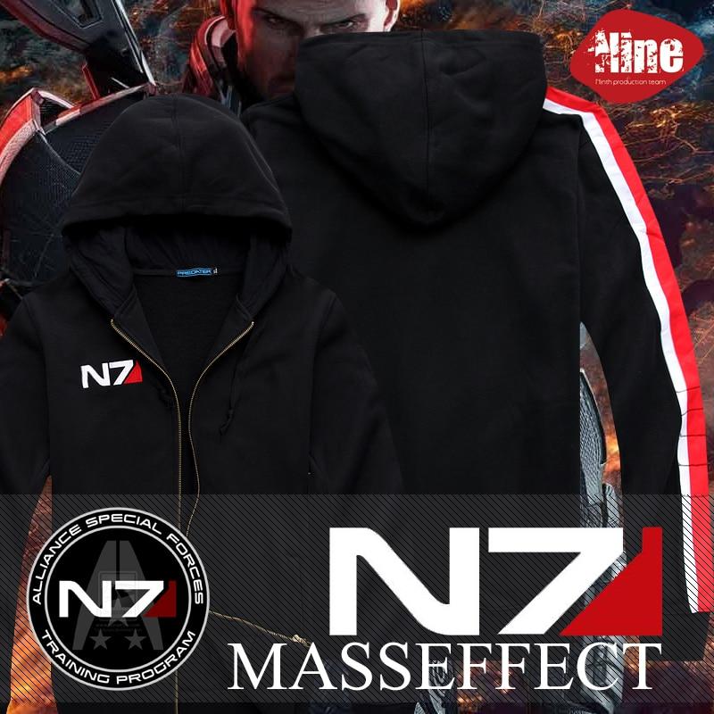 Mass Effect N7 Hoodies Top Coat Cosplay Black Jacket Man Sweatshirt Keychain