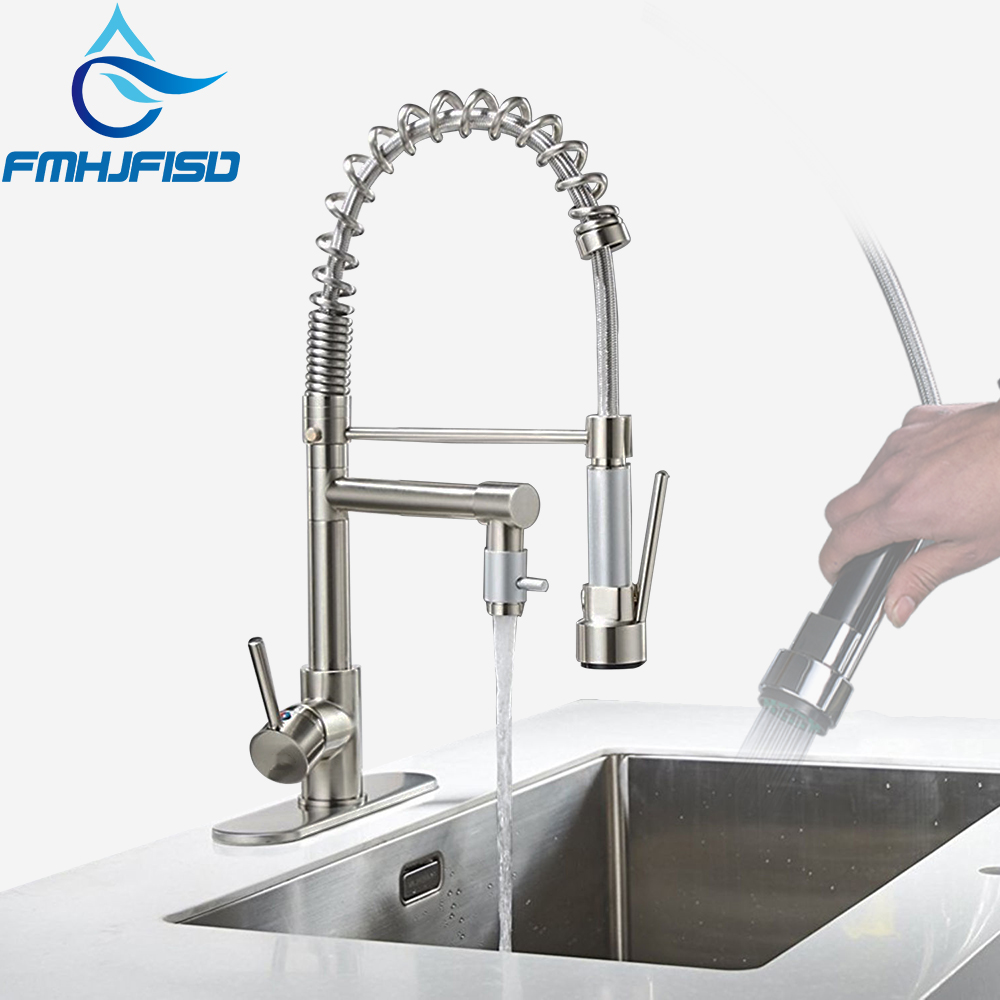 FMHJFISD Brushed Nickel Chrome Kitchen Faucet Double Sprayer Vessel Sink Mixer Tap Deck Mounted Single Hole