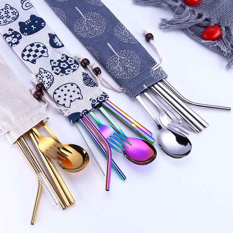 Tofok Stainless Steel Dinnerware Set Spoon Fork Chopsticks Straw With Cloth Pack Cutlery For Travel Outdoor Office Picnic BBQ stainless steel reusable cutlery set