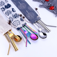 Tofok Stainless Steel Dinnerware Set Spoon Fork Chopsticks Straw With Cloth Pack Cutlery For Travel Outdoor Office Picnic BBQ