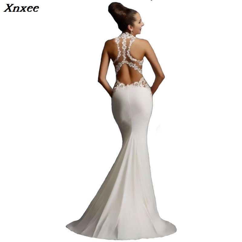 Slf cutivation Halter Mermaid Dress Sexy Cuy out Sleeveless Tank Elegant Lace Elegant Long Dress Vestidos De Festa Xnxee in Dresses from Women 39 s Clothing