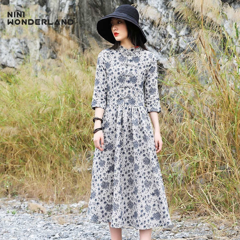 NINI WONDERLAND 2019 Autumn Print Cotton Ramie Dress Women Print Chinese Style Stand Collar Classic Dresses