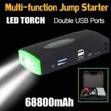 Стартерное устройство мАч 12 В 2USB портативный автомобиль прыжок 68800 Booster зарядное устройство батарея запасные аккумуляторы светодио дный телефонов светодиодный фонарик для автомобиля батарея зарядное устройство