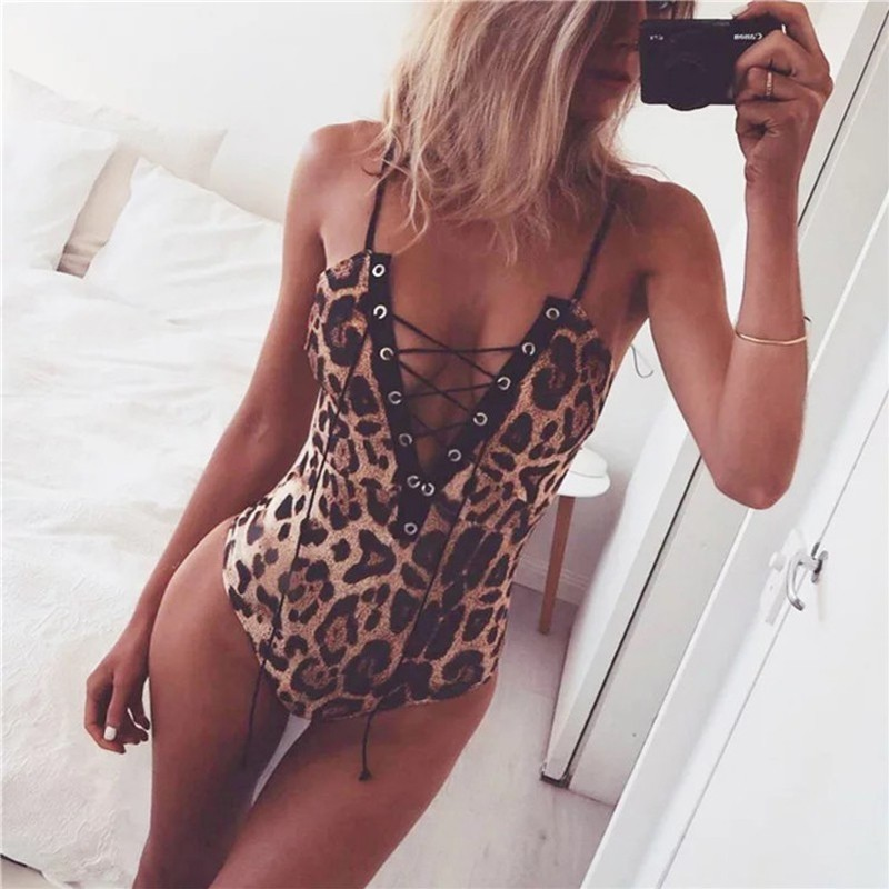 Sexy Sleeveless Strap Deep V Neck Cross Criss Lace Up Leopard Print Bodysuit For Women Jumpsuit Rompers Overalls Ropa Mujer 2019