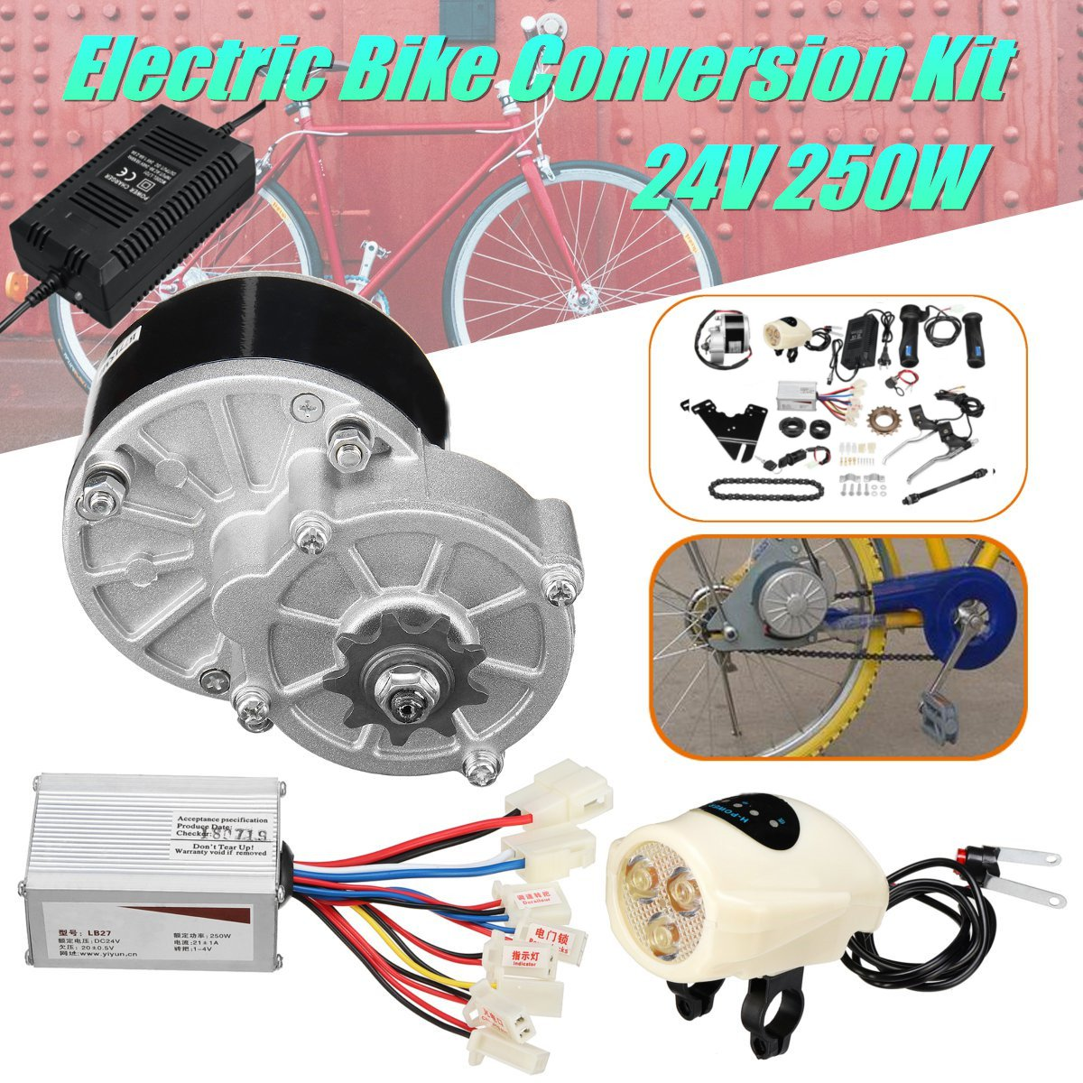 24V 250W Motor Controller Electric Bike Kit Electric Bicycle Conversion Kit for Ordinary Common Electric Bicycle Accessories