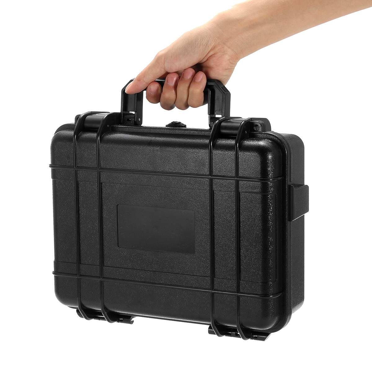 3 Sizes Waterproof Hard Carry Tool Case Plastic Toolbox Equipment Protective Storage Box Organizer Portable Container Black