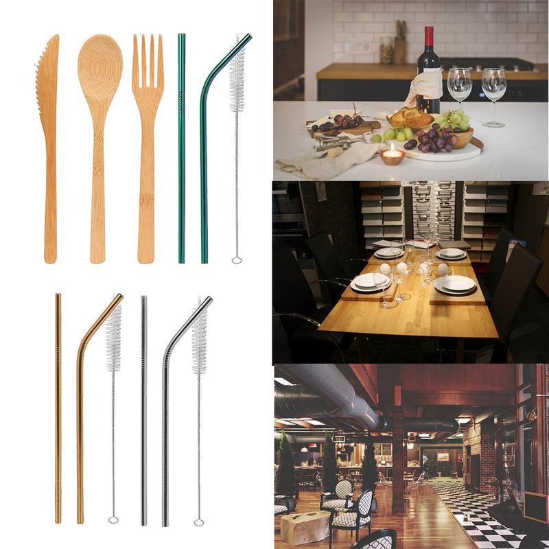 Bamboo Utensils Flatware Travel Cutlery Set Include Reusable Stick Spoon Cutter Chopsticks Straws Cleaning Brush Home Products