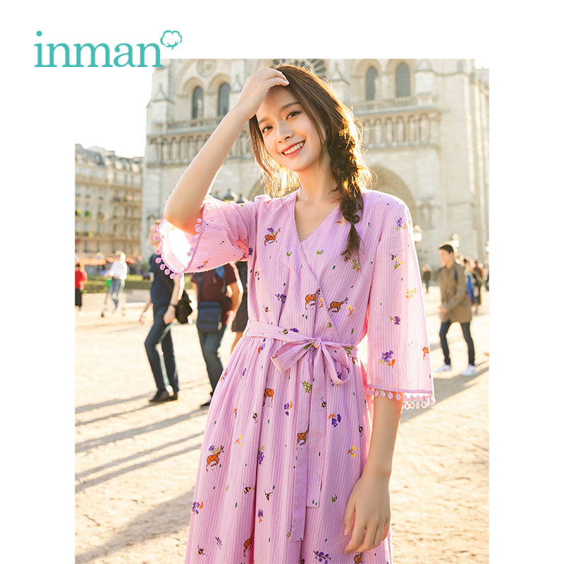 INMAN 2019 Spring New Arrival V neck Literary Floral Retro Striped Defined Waist Slim Loose A