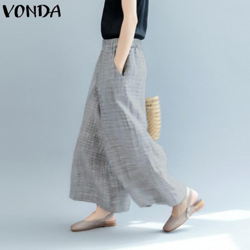 Women   Wide     Leg     Pants   2018 VONDA Ladies Elastic Waist High Waist Casual Loose Long Harem   Pants   Plus Size Pockets Trousers