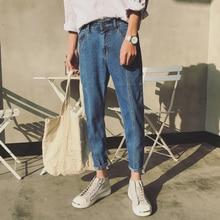 цены на 2019 New Fashion Men Casual Blue Harem Jeans Slim In Straight High-quality Elastic Waist Jeans Long Trousers Denim Pencil Pants  в интернет-магазинах