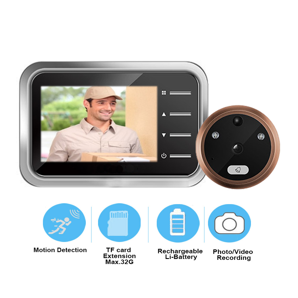 Motion Detection Video Peephole Doorbell Camera Electronic Ring Video-eye Door Viewer Security Auto Photo Video Record
