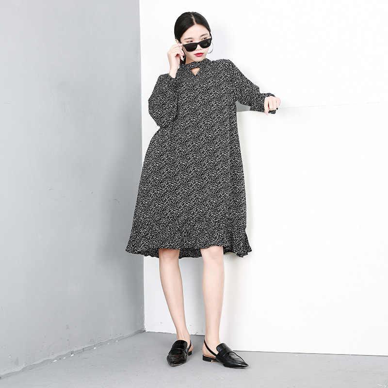 LANMREM 2019 новый весенний пуловер с принтом с круглым вырезом выдалбливают Модные женские платья с длинными рукавами-фонариками женская одежда QF10901