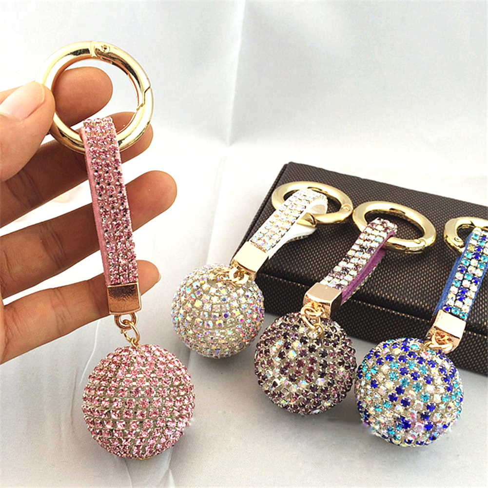 2019New Strass Rhinestone High Quality Leather Strap Crystal Ball Car Keychain Charm Pendant Key Ring For Women