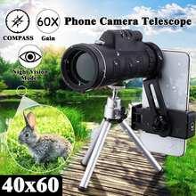 1 шт. 40X60 HD монокуляр телескоп + штатив + зажим для наружного кемпинга охота мобильный телефон телескоп Монокуляр телескоп