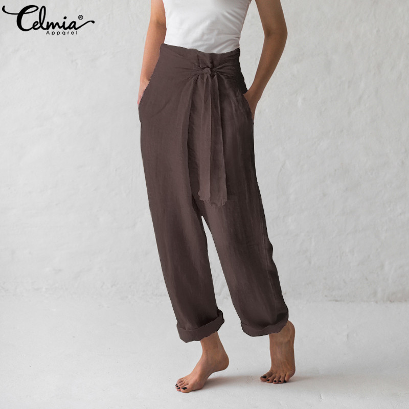 Celmia Vintage Linen Trouser Women   Wide     Leg     Pants   With Pockets 2019 Summer Casual Loose Solid Long Harem   Pant   Pantalon Plus Size