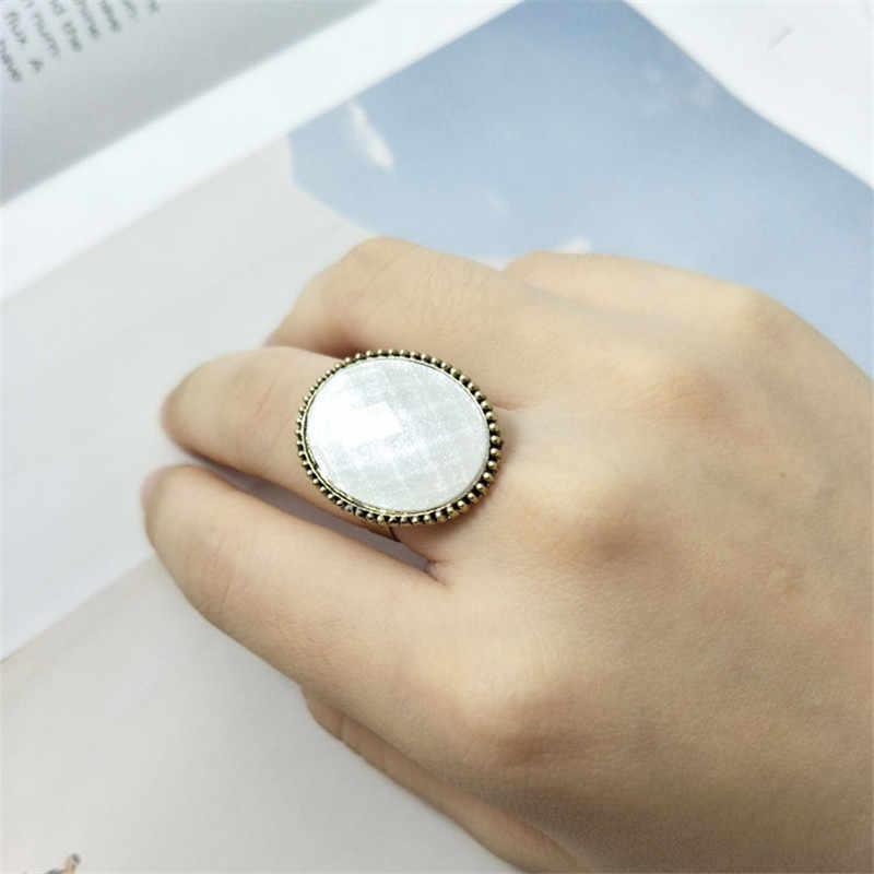 Vintage Oval แหวนผู้หญิงเครื่องประดับสีเขียวสีชมพูหินแหวนคู่หมั้นแหวนแต่งงานผู้หญิงแหวนของขวัญผู้หญิง