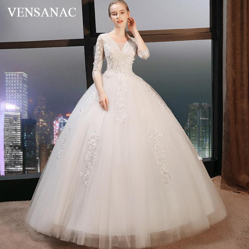 VENSANAC V Neck 2018 Flowers Appliques Ball Gown Wedding Dresses Lace Half Sleeve Pearls Backless Bridal Gowns in Wedding Dresses from Weddings Events