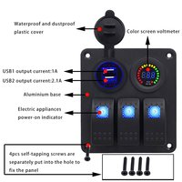 3 PIN Switch Panel Dual USB Charger 12V Color Screen Voltmeter For Car Boat Motorcycle RV Switch Cleanrance Sale
